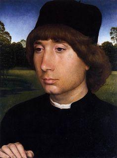 Portrait of a young man before a landscape  Hans Memling (1430 – 1494)