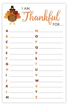 Thanksgiving is all about gratitude. This Thankful ABC's Printable is the perfect activity for you kids to work on on Thanksgiving day. Thanksgiving Activities For Kids, Thanksgiving Traditions, Thanksgiving Parties, Holiday Activities, Thanksgiving Crafts, Holiday Crafts, Thanksgiving Craft Kindergarten, Thanksgiving Word Search, Outdoor Thanksgiving
