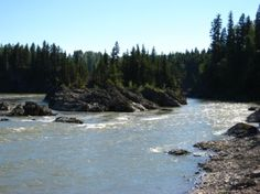 In the canyon of Fort George Canyon Provincial Park, early sternwheelers used to be winched through the narrow area of the river.