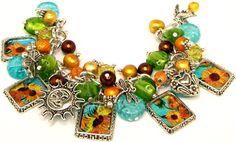 Van Gogh Sunflowers Charm Bracelet Beads by baublesbeadsncharms, $36.88