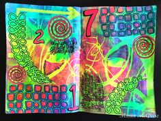 Mixed Media Art Journal page by Maria McGuire using the May StencilClub designs from StencilGirl.