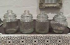 Small 13cm Vintage Retro Reeded Glass Storage Jars Jar Vacuum Seal Sweet Spice