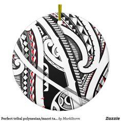 Perfect tribal polynesian/maori tattoo art ceramic ornament