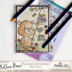 ScrappyHorses: Water Color; card; bear; Polkadoodles; Stamps; Inktense pencils; Derwent; #polkadoodles  #pdoodlescraft