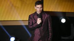 Barcelona and Argentina forward Lionel Messi speaks on stage during the 2014 FIFA Ballon d'Or award ceremony at the Kongresshaus in Zurich on January Ballon D'or, Lionel Messi, Messi Suit, Cristiano Ronaldo, Fifa, Arsenal Fc, Football Fans, Liverpool Fc, Fc Barcelona