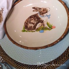 Love the robins egg blue plate w/ natural charger : #easter table setting .