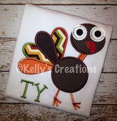 Funky Turkey appliquéd shirt Thanksgiving https://www.facebook.com/KellysCreations http://www.kellyscreationstx.com