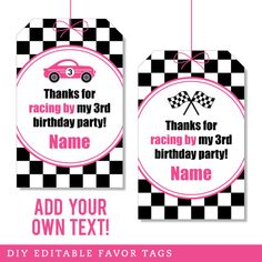 Paper goods and DIY printables for parties and holidays Thank You Tag Printable, Thank You Tags, Printable Tags, Printables, 1st Birthday Girls, 3rd Birthday Parties, Race Car Party, Favor Tags, Paper Goods