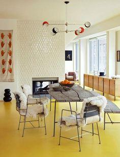 fireplace tiles, long buffet, yellow floor