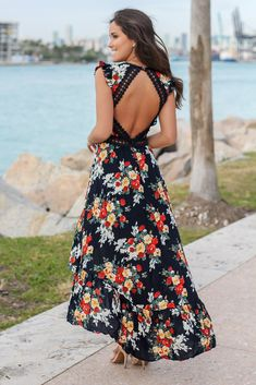 Buy this pretty Black and Pink Floral High Low Dress from Saved by the Dress Online Boutique. Cute dress in lovely floral print and high low style! Navy Dress, Dress Up, Cute Dresses, Vintage Dresses, Floral High Low Dress, Dress Sewing Patterns, Smock Dress, High Waisted Skirt, Clothes For Women