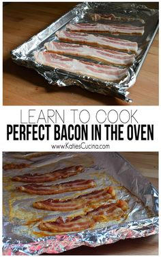 Learn to Cook Perfect Bacon in the Oven - Food Recipe How To Cook Ribs, Learn To Cook, Breakfast Items, Breakfast Recipes, Breakfast Dishes, Bacon In The Oven, Oven Bacon, Cooking Recipes, Cooking Ribs