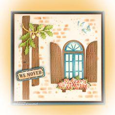 Leane Creatief lea'bilitie 45.3530 Window & Shutters | stencil 95.3646 Stones & Wall Window Shutters, Stencils, Stones, Greeting Cards, Scrapbook, Tags, Frame, Home Decor, Diy
