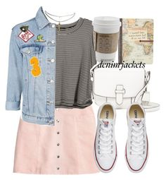 """""""denim jacket"""" by smirnova-varya ❤ liked on Polyvore featuring H&M, Topshop, MICHAEL Michael Kors, Converse and ASOS"""