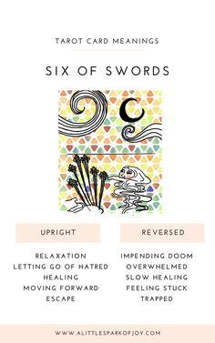 Six of Swords Tarot Card Meaning: Love, Health, Money & Tarot Card Meanings, Tarot Spreads, Tarot Decks, Tarot Cards, Major Arcana, Oracle Cards, Deck Of Cards, Ancient Greece, Ancient Egypt