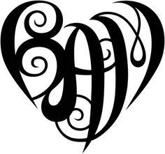 initials into a heart