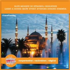 The Light & Sound show in Blue Mosque has a charming, spontaneous feel and accommodates visitors from round the globe by presenting shows in different languages. #WOWEvents #TravelTuesday #EventOrganizers #EventPlanners