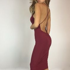 """✨Burgandy Mini Low Back Dress S L Perfect stunner for the Holiday season. In a gorgeous deep burgandy red. Features a classic high neck and low scoop back, will be sure to turn heads. Fabric is very sleek & has great stretch. Size M measures 17"""" across chest 43"""" in length. 95% Poly 5% Spandex. I am wearing Size S and 5'3"""". True to Size. Boutique Dresses Midi"""