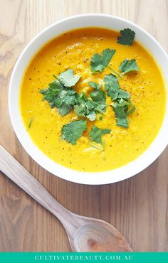 Who loves a good pumpkin soup? We do! While normally made on cream, this easy pumpkin soup is gluten + dairy free (and paleo), and uses coconut cream to add richness. We also like to add homemade bone broth for some extra nourishing goodness. But perhaps the best part of this pumpkin soup is that it's seriously EASY to make (in a blender, yo!) and relatively inexpensive. Click to get the full recipe and download the printable recipe card!