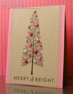 Чтобы сделать такие елочные шарики на новогодней открытке, придется подпилить у пуговиц ножки