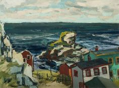 """""""Newfoundland Village,"""" Henri Leopold Masson, ca.1969, oil on board, 12 x 16"""", private collection."""