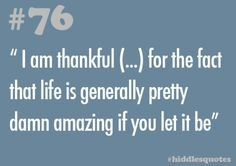 """#76 - """"I am thankful (…) for the fact that life is generally pretty damn amazing if you let it be"""" _____________ Source"""
