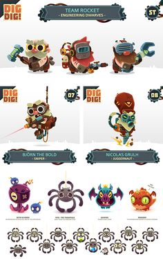 I did for Dig Dig! by Bee Square GamesDig Dig! is an idle space fantasy game with RPG mechanics where you control the last dwarf mining station in the universe to work for all kind of weirdos customers. Board Game Design, Game Ui Design, Game Character Design, Character Concept, 2d Game Art, Space Fantasy, Space Games, Mexica, Game Concept Art