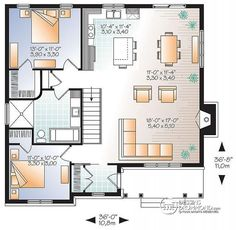 Elegant Plan De Rez De Chaussée Plain Pied Transitionnel Avec 2 Chambres, Aire