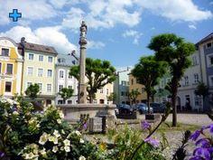 Der Marienplatz, auch Marktplatz und im späten 18. Jahrhundert Schrannenplatz genannt, ist mit original Salzachsteinen gepflastert.     Seit 1540 gab es auf diesem Platz einen Brunnen mit einer Pferdeschwemme, 1692 wurde vom Laufener Bildhauer Pfaffinger die Mariensäule mit der Statue der Maria Immaculata erschaffen.     1901 mussten Häuser aus der Reihe der schönen Inn-Salzach-Bauwerke herausgenommen werden, um den Weg für die neue Salzachbrücke frei zu machen. Statue, Fountain, Environment, Sculptures, Sculpture