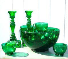 Emerald Green Glass Punch Bowl Set