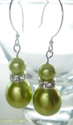 Pearl Dangle Earrings  Lime green pearls by Eienblue on Etsy, $7.00