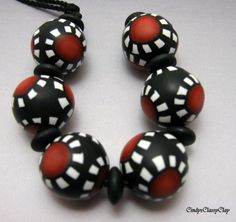 Mod Red and Black and White Beads by CindysClassyClay on Etsy, $8.00