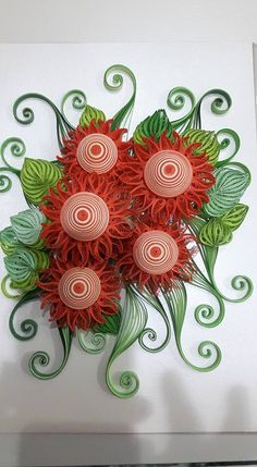 Quilled Red Flowers and Leaves - by: Sandra White