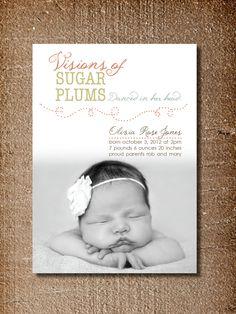 Christmas Birth Announcement, Sugar Plums Christmas Card. $15.00, via Etsy.