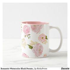 Shop Romantic Watercolor Blush Peonies Floral Pattern Two-Tone Coffee Mug created by KeikoPrints. Blush Peonies, Blush Pink, Painted Coffee Mugs, Pretty Mugs, Cute Cups, Custom Mugs, Glass Art, Romantic, Pattern