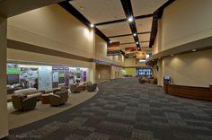 Church lobby with outreach wall. Church Interior Design, Corporate Interior Design, Corporate Interiors, Church Design, Church Lobby, Church Foyer, Church Stage, Auditorium Design, Lobby Design