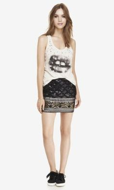 SEQUIN DIAMOND MINI SKIRT from EXPRESS
