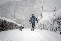 Andy Gale com seu cachorro, Joe, perto de Lesmahagow, South Lanarkshire, onde a neve tem c...