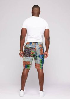 Debare Men's African Print Classic Fit Shorts (Navy Brown) - Men's style, accessories, mens fashion trends 2020 Modern African Clothing, African Dresses Men, Black Mens Fashion Shorts, Afrocentric Clothing, Man Skirt, Navy And Brown, African Print Fashion, Workout Shorts, Men Dress