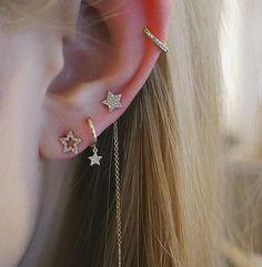 Industrial Barbells - SET of TWO - Beaded Industrial Piercing - Ear Jewelry - 1 Blue and Black Scaffold Piercing - Made to Order - Custom Jewelry Ideas Gold Bar Earrings, Emerald Earrings, Crystal Earrings, Jewelry For Her, Ear Jewelry, Bridal Jewelry, Jewellery, Cool Ear Piercings, Multiple Ear Piercings