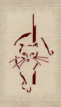 Chez Béa and Co ... Hand Embroidery Stitches, Cross Stitch Embroidery, Embroidery Designs, Cross Stitch Patterns, Crochet Patterns, Applique Templates, Thread Painting, Cross Stitch Animals, Cat Pattern