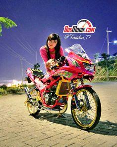 Modifikasi Motor Kawasaki Ninja Dan Cewek Keren Pink Kawasaki Ninja, Dan, Racing, Bike, Motorcycles, Running, Bicycle, Auto Racing, Bicycles