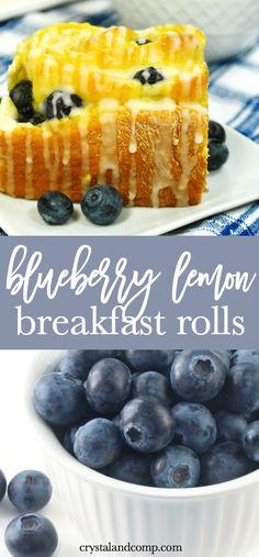 Blueberry Sweet Rolls with Lemon Glaze   CrystalandComp.com