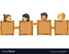 Children holding blank wooden boards vector image on VectorStock Boarder Designs, Page Borders Design, Borders For Paper, Borders And Frames, Art Wall Kids, Art For Kids, Cute Powerpoint Templates, School Board Decoration, Kids Cartoon Characters
