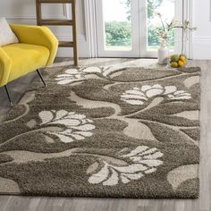 Safavieh Florida Shag Neliha Floral Rug x Square - Smoke/Beige), Brown Floral Area Rugs, Floral Rug, Beige Area Rugs, Tapete Floral, Cream Furniture, Shag Carpet, Buy Carpet, Room Carpet, Outdoor Area Rugs