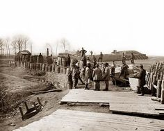 Manassas, Virginia; Confederate fortifications, with Federal soldiers.