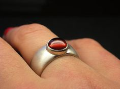 Garnet ring sterling silver with a matte satin finish - Size 7 1/2