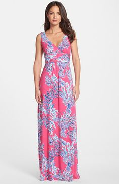 Lilly Pulitzer® 'Sloane' Print Jersey Maxi Dress available at #Nordstrom love the v neck and style of this