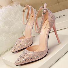 Elegant Rhinestone Wedding Shoes High Heels - My Wedding Ideas High Heel Pumps, Stilettos, Pumps Heels, Stiletto Heels, Gold Heels, Platform Pumps, Rhinestone Wedding Shoes, Bridal Shoes, Silver Rhinestone