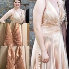 Champagne beaded formal dress - halter This is a beautiful champagne colored Prom/Formal with a halter top. The bodice is beaded and the skirt pleated. Size: 12. Color: Champagne. Times worn: 2 Price is negotiable! Other Dresses Prom