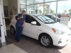 Jon Rohrer with his new, white 2013 Prius! Thumbs up! Welcome to the #DavidMaus #Toyota family! #WhateverItTakes